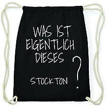 JOllify Stockton Hipster Sacca Borsa Zaino in cotone – colore  nero 185de3fa15f