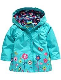FINEJO Baby Girls lovely Flowers Hooded Long Sleeve Waterproof Raincoat Jacket