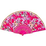 Hot Pink : Jaminy Newest Designed, Pattern Folding Hand Fan, Rose Pattern Folding Dance Wedding Party Lace Silk Folding Hand Held Flower Fan (Hot Pink)