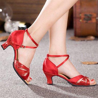 Dance Shoes Quietness Ruhe @ Damen Tanzschuhe Latin Patent Leder Chunky Ferse blau/rot/Silber/Gold, rot - 2