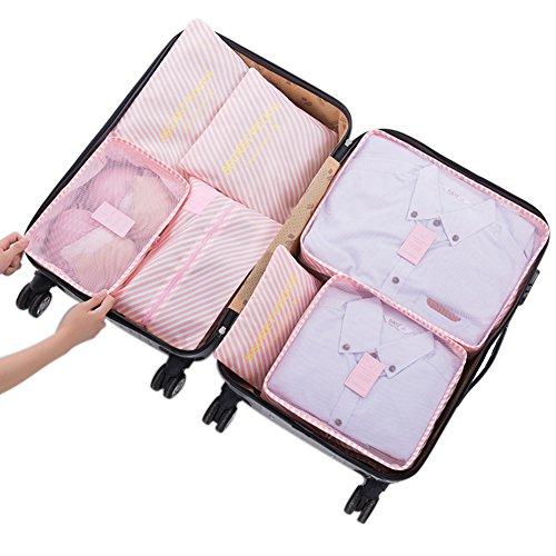 Belsmi Reise Kleidertaschen Set 7-teilig Reisetasche in Koffer Reisegepäck Organizer Kompression Taschen Kofferorganizer Mit Schuhbeutel (Rosa Streifen) (Mit Schuhfach Fitnessraum)