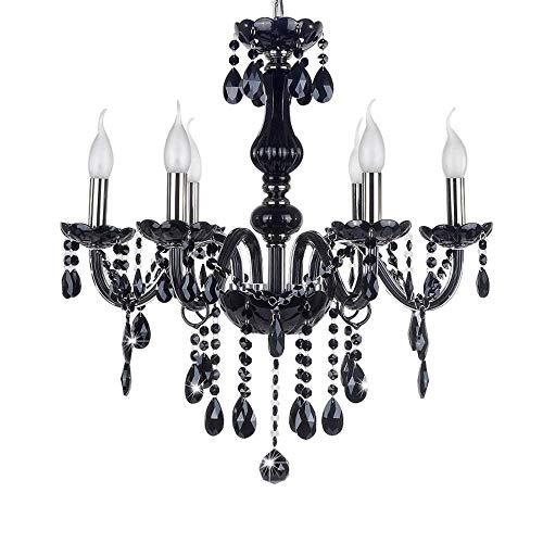 LeMeiZhiJia Kristall Kronleuchter Vintage Lüster Deckenleuchte Pendelleuchte Schwarz für Wohnzimmer Esszimmer Schlafzimmer (6 Flammig) -