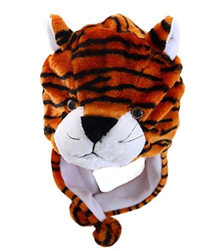 DELEY Unisex Frauen Mädchen Kinder Winter Warm Plüsch Tier Ohrenschützer Hüte Mützen Weihnachten Halloween Kostüm Geschenk Tiger