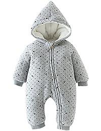 Bebé Traje de Nieve Mameluco con Capucha Espeso Peleles Algodón Monos Ropa de Invierno con Cremallera