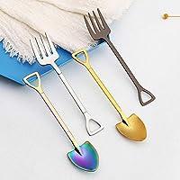 KOBWA - Juego de 2 Tenedores de Postre de Acero Inoxidable con Cuchara para Servir ensaladas, Accesorios creativos para Cocina para Frutas y Pasteles