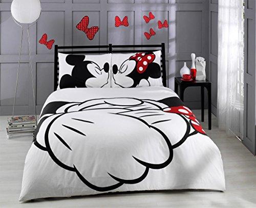 deconation 100% Baumwolle Tröster Set Full Queen Size Disney Minnie Loves Kisses Mickey Maus Herz Thema Betten Bettwäsche Bettdecke Doona Blatt -