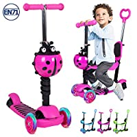 Birtech 5-in-1 Kids Scooter, 3 Wheels Scooter Kick Scooter with Adjustable Removable Seat and Push Handle, Lightweight Toddler Scooter with Flashing Led Light Up Wheels for Boys and Girls (Pink Rose)