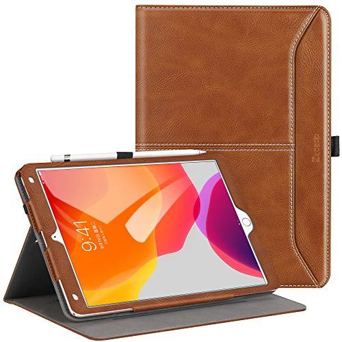 Ztotops Hülle für iPad 10.2 2019, Premium Leder Geschäftshülle Smart Case mit Auto Schlaf/Wach Funktion und Kartensteckplatz, für iPad 7. Generation, Braun