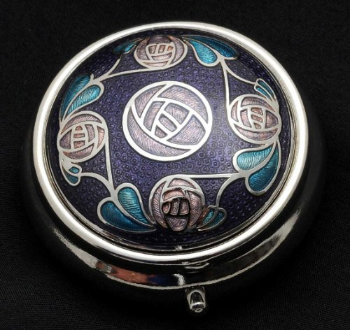 Pill Box in a Mackintosh Rose Ring of Roses Design. (Purple) -