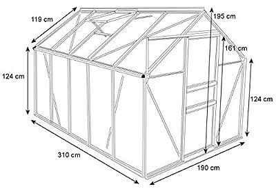 Zelsius® - 5,9 m² Aluminium Gewächshaus, Garten Treibhaus, 310 cm x 190 cm, 6 mm Hohlkammerstegplatten von Zelsius bei Du und dein Garten