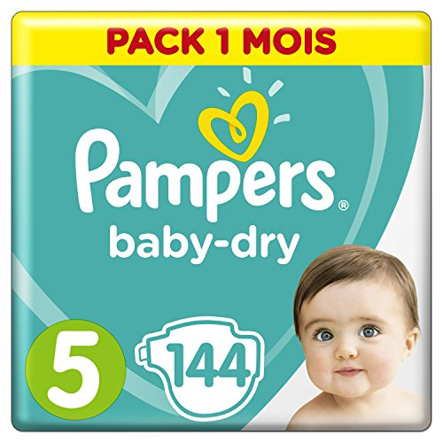 Pampers - Baby Dry - Couches Taille 5 (11-16, 11-23 kg) - Pack 1 mois (x144 couches)