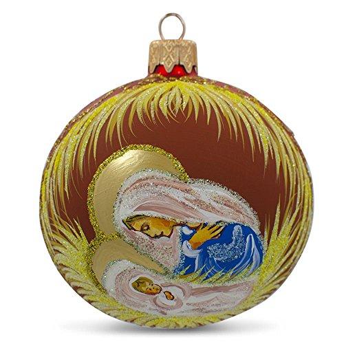 8,3cm Mary Overlooking Gesù Natività palla di vetro di Natale (Glass Natività Di Natale Set)