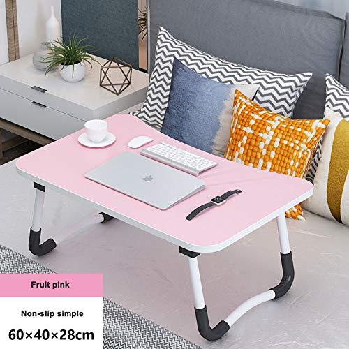 Laptop Ständer 100% tragbarer Ständer Faltbarer Schreibtisch Notebook Tisch Laptop Bett Tablett Bett Tisch, flaches Design, Spiele spielen auf dem Bett Tisch (Farbe : Pink)