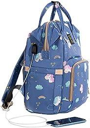 SUNVENO Printed Diaper Bag   Backpack Large Capacity Baby Bags   Multifunction   Travel Backpack   Unicorn   U