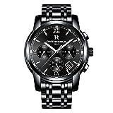 RuiZhiYuan Herren Quarz Uhren Edelstahl Multifunktions Datumsanzeige Wasserdicht Leuchtende Nacht Armbanduhr Uhr(Schwarz)