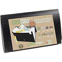 eco-eco A650% riciclato 6tasca espandibile nero Accordion file + linguette