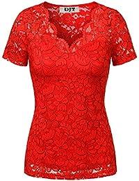 DJT Femme Hauts ete T-shirt en Dentelle Lace Transparant Mancehs courtes