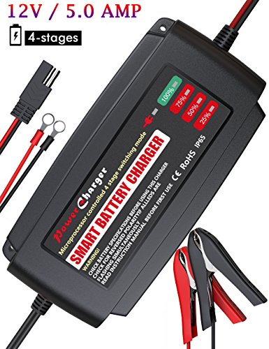 BMK 12V 5Amp Fully Automatic Battery Charger 4-Stage Maintainer Smart Charging Waterproof for Car Motorcycle Scooter Lead Acid Battery
