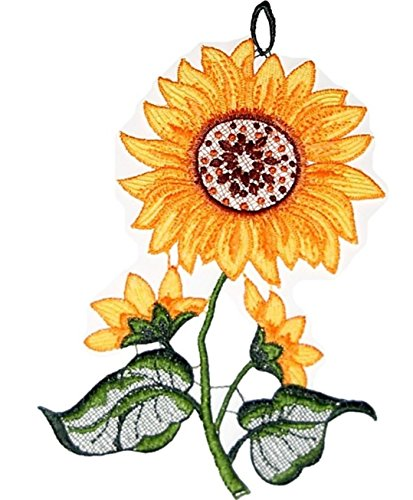 Fensterbild PLAUENER Spitze Sonnenblume Spitzenbild Gelb Grün Fenster-Dekoration Blume Herbstbild 14x24 cm + Sauger (Halloween-die Grenzen Transparent)