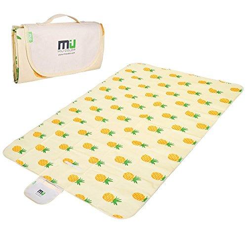 MIU COLOR® Picknickdecke Stranddecke 152 x198cm Wasserdichte Matte Decke für Camping Wandern Gras Reise (Ananas)