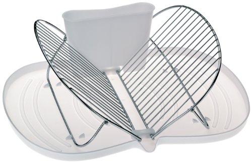 kela 16905 Geschirrabtropfkorb Papillon mit Kunststoff-Abtropfschale und Besteckhalter weiß