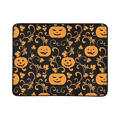 EIJODNL Halloween Pumpkins On Black Portable and Foldable Blanket Mat 60x78 Inch Handy Mat for Camping Picnic Beach Indoor Outdoor Travel