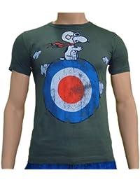Touchlines décorative motif snoopy target comic t-shirt à olive-taille m