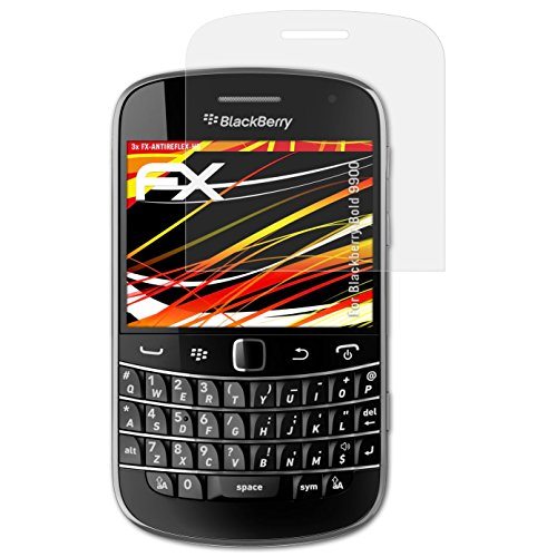 atFolix Schutzfolie kompatibel mit BlackBerry Bold 9900 Displayschutzfolie, HD-Entspiegelung FX Folie (3X) Blackberry Bold Screen Protector