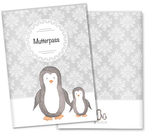 Mutterpasshülle 3-teilig Motiv Black & White Mutterpass Hülle Schwangerschaft Geschenkidee (Mutterpass ohne Personalisierung, Pinguin) (Pinguin Mama)