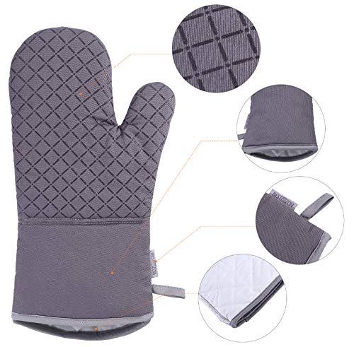 sundada Gloves Set of Oven Mitt and Heat Resistant Pot Holder Pad Protective Oven Gloves The Goods for Kitchen Gadgets (Gray) Mitt Pot Holder