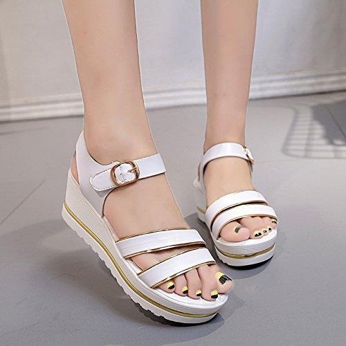 Lgk & fa estate sandali da donna d' estate con la pendenza con spessore fondo impermeabile piattaforma con S casual studente scarpe scarpe sandali White