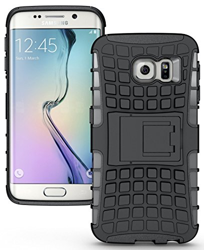 Heartly Flip Kick Stand Spider Hard Dual Rugged Armor Hybrid Bumper Back Case Cover For Samsung Galaxy S6 edge SM-G925 - Rugged Black