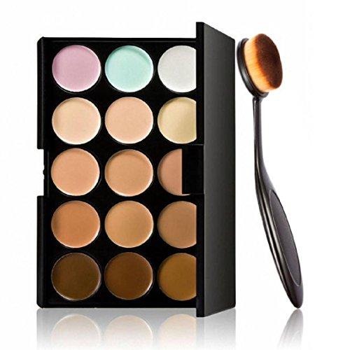 Pinceau de maquillage,Transer® 15 PC Coloris Correcteur +1 PC Maquillage Cosmétique Courbe Brosse Fondation