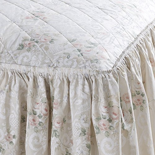 Country Vantona Charlotte Floral Print Quilted Fitted Bedspread, Peach – Single Size