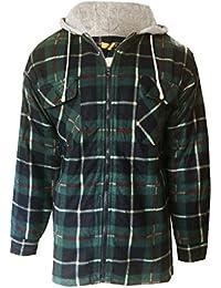 Bruno Galli Mens Check Plaid Fleece Lined Hooded Worker Lumberjack Jacket
