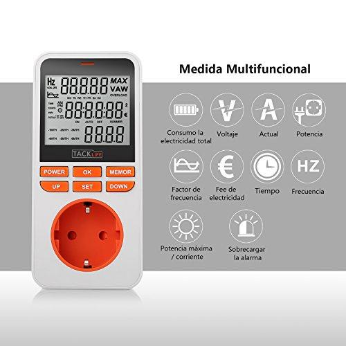 Consumo de energía Tacklife MPM02 Medidor de energía temporizador programador digital de MAX 3680W /16A Registre 6 meses de datos. Monitor en tiempo real de datos de electricidad ahorre dinero y energía