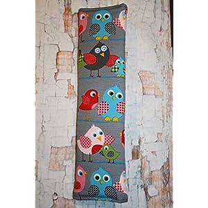 Auto Gurtpolster für Kinder und Erwachsene dunkelgrau mit bunten Vögeln Vogel Bird