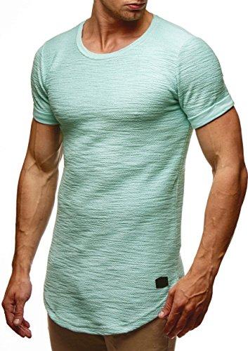 LEIF NELSON Herren oversize T-Shirt Hoodie Sweatshirt Rundhals Ausschnitt Kurzarm Longsleeve Top Basic Shirt Crew Neck Vintage Sweatshirt LN6324 S-XXL; Grš§e M, Mint