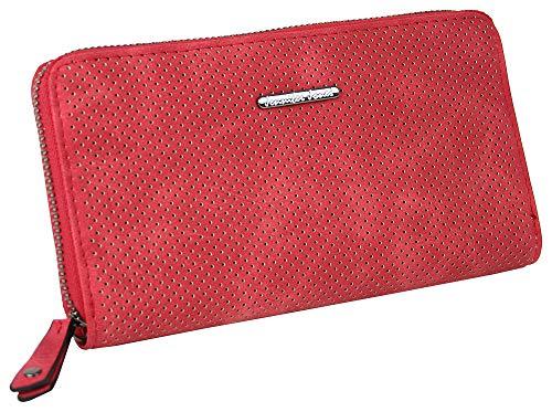 Jennifer Jones Große Schmale Damen Geldbörse Clutch-Portemonnaie mit umlaufendem Reißverschluss viel Stauraum Kartenfächer Münzfach Fotofach (Rot)