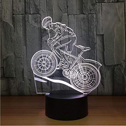 Hyllbb Mountainbike Fahrt 3D Tischlampe LED Buntes Nachtlicht Kindergeburtstagsgeschenk USB Schlaf Beleuchtung Dekoration Fabrik