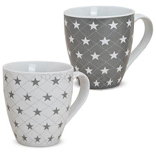 matches21 XXL Jumbo Tassen Becher Kaffeebecher 2-tlg. Set mit Sternen grau & weiß aus Porzellan hergestellt je 11 cm hoch / 450 ml