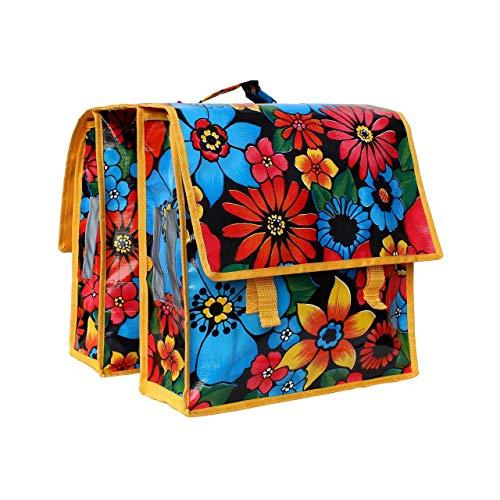 IKURI Fahrradtasche Wasserdicht - Große Radtasche für den Gepäckträger mit Schultergurt für Damen Wasserfeste Gepäckträgertasche Seitentasche Schultertasche Umhängetasche -Design Alegria