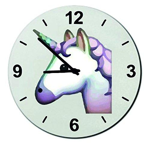 Glas Uhr Ø18 cm Einhorn, Pinkes/Rosa Einhornkopf Magisch