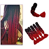"Kanekalon Xpressions Braiding Hair Ombre 3 Tone 24"",Showjarlly Ombre Jumbo Braid Hair Extension High Temperature Fiber 3pcs/Lot 100g/pc For Crochet Twist Braiding Hair(3 pcs Black/Wine Red/Red)"