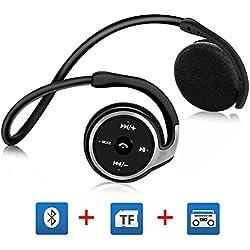 Auriculares Bluetooth V4.1 GRDE, Auriculares Inalámbricos Bluetooth 4.1 Alta Calidad de Sonido, Auriculares Deportivos con Función de FM & Tarjeta TF (Máximo 64G) para Deportes Aire Libre, Camping, Outdoor