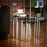 VonHaus Nest of Tables | Set of 3 | Black Glass and Chrome Legs