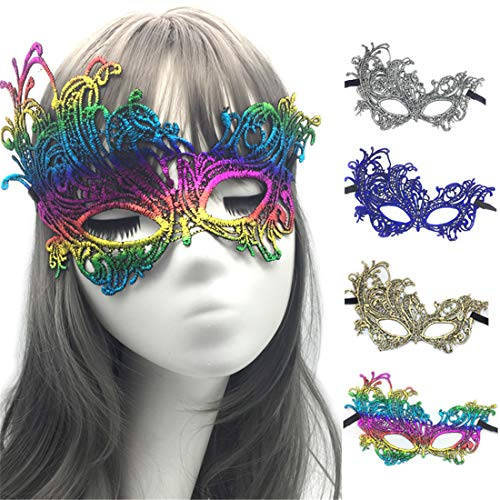VJUKUBCUTE Packung Von 4 Sexy Frauen Gold Blue Sliver Und Bunte Bronzing Vintage Lace Masquerade Ausgefallene Kleid Masken Venezianischen Eyemask-Halloween Mardi Gras Party Maske (Prom Dekorationen Gras Mardi)