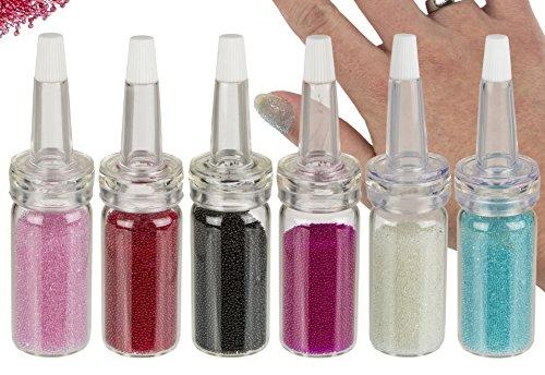 6er Nailart Nagelperlen Mini-Perlen Micro-Perlen Minibeads in den 6 beliebtesten Farben in ultrafein dosierbaren Trichter-Fläschchen