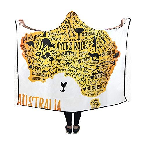 Yushg Hooded Blanket Typografie Poster Australien Karte Australien Travel Blanket 60 x 50 Zoll Comfotable Hooded Throw Wrap