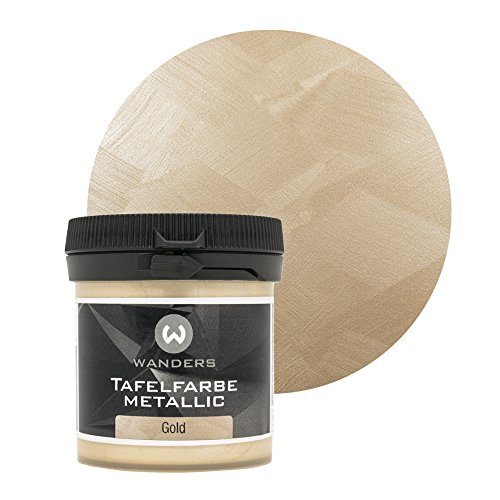 Wanders24® Tafelfarbe Metallic-Gold (80 ml) Blackboard Paint - Tafellack - abwischbare Wandfarbe - in 5 Farbtönen erhältlich - Made in Germany